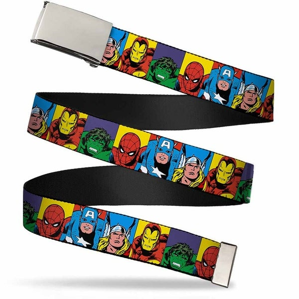 Blank Chrome Bo Buckle Marvel Superhero Blocks Multi Color Webbing Web Web Belt
