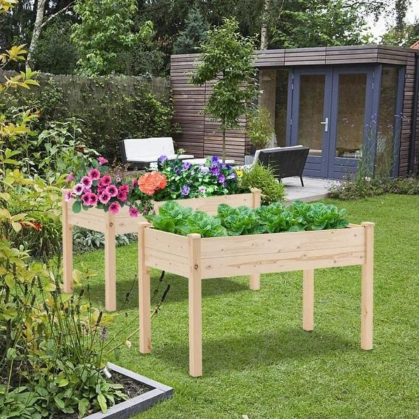 SUNCROWN 4-foot Wooden Raised Garden Bed