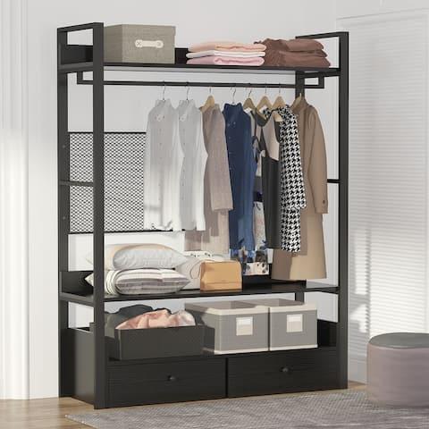 Free-Standing Closet Organizer, 6 Shelves, Double Drawers