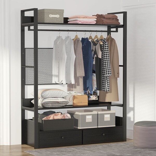 Free-Standing Closet Organizer with Drawers and Clothes Garment Rack Shelf. Opens flyout.