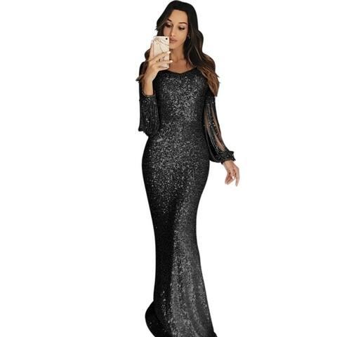 Long Skirt Evening Dress Long Sleeve Tassel Dinner Dress