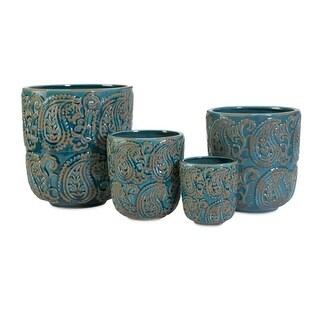 Set of 4 Decorative Blue Paisley Distressed Planters