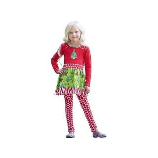 AnnLoren Little Girls Red Green Polka Dot Dress Leggings Christmas Outfit