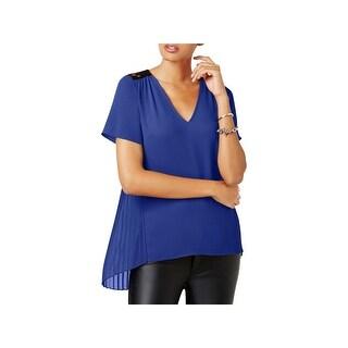MICHAEL Michael Kors Womens Petites Blouse Lace Pleated - ps