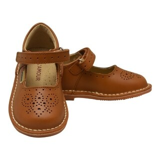 L`Amour Little Girls Brown Perforated Ankle Strap Mary Jane Shoes 5-10 Toddler