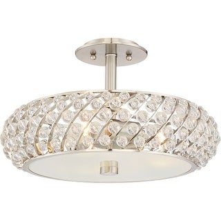 """Platinum PCLG1715 Legion 3 Light 17"""" Wide Semi Flush Ceiling Fixture with Crystal Accents"""