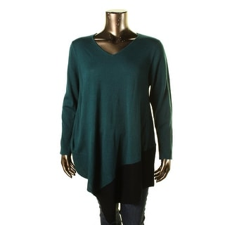 NY Collection Womens Plus Asymmetric Colorblock Poncho Sweater