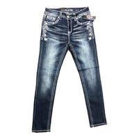 Grace in LA Denim Jeans Womens Easy Fit Bootcut Med Wash