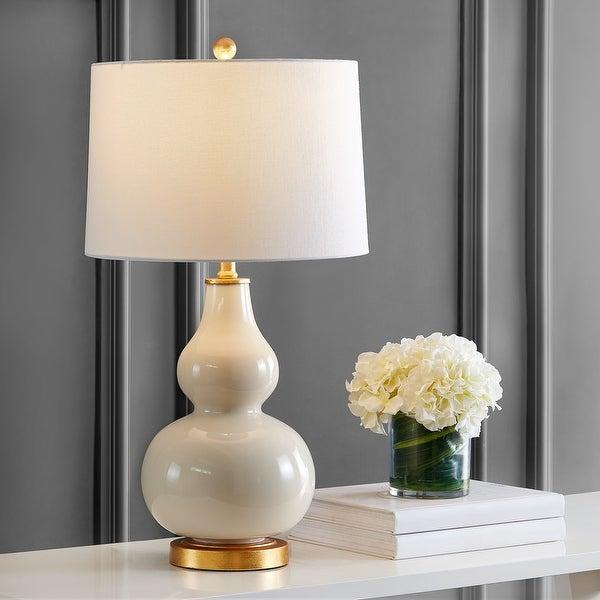 Safavieh Lighting 29-inch Karlen Gourd Table Lamp (Set of 2) - 15x15x28.5. Opens flyout.