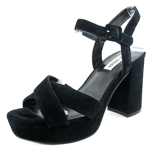 Steve Madden Tempesst Women Open Toe Suede Black Platform Sandal