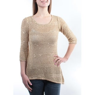 INC Womens Gold Textured Long Sleeve Scoop Neck Top Size: L