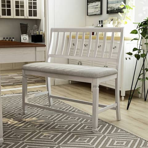Furniture of America Keer Country White Fabric Counter Dining Bench