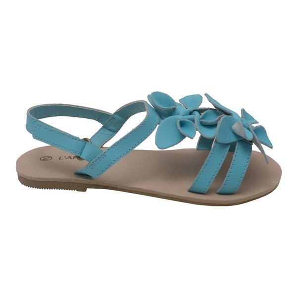 a29a59677 Shop L Amour Girls Blue Flower Blossom Accent Strap Sandals 7-10 Toddler -  Free Shipping On Orders Over  45 - Overstock.com - 23089120