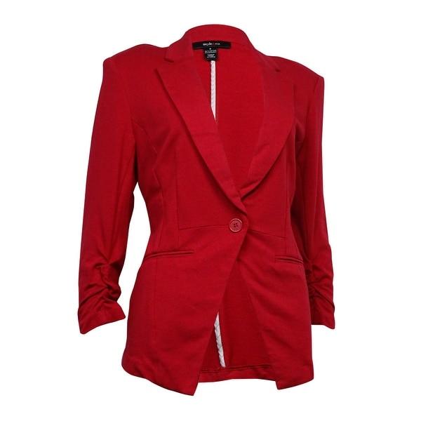 Style & Co. Women's Notch Welt-Pocket Ponte Blazer - new red amore