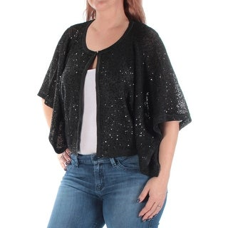 ALFANI $70 Womens 1215 Black Sequined Sheer Button Down Casual Jacket L B+B