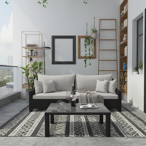Cloud Mountain 3 Piece Outdoor Sofa Set Wicker Loveseat Patio Furniture Set Conversation Table Set Deep Seating