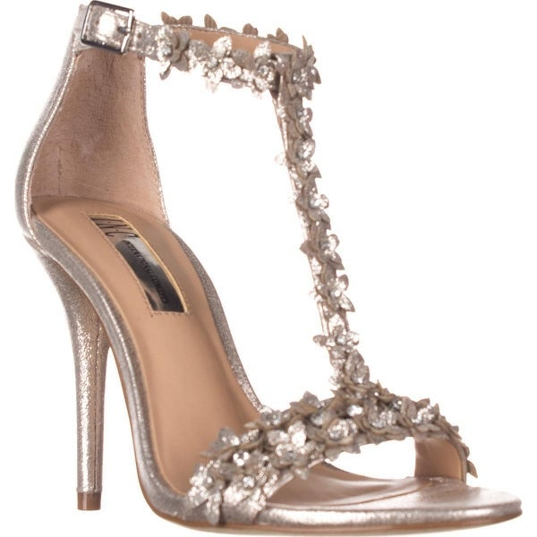 I35 Rosiee Flower T-Strap Sandals, Pearl Gold