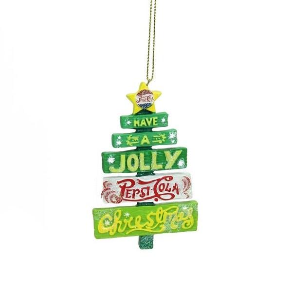 "4"" Glittered Jolly Pepsi Tree Christmas Ornament"