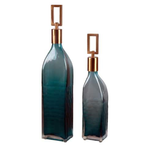 """Uttermost 20076 Annabella 19"""" Vase by David Frisch - Set of 2 - Teal Green"""