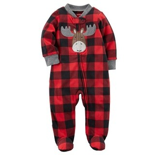 Carter's Baby Boys' Moose Zip-Up Fleece Sleep & Play, 3 Months
