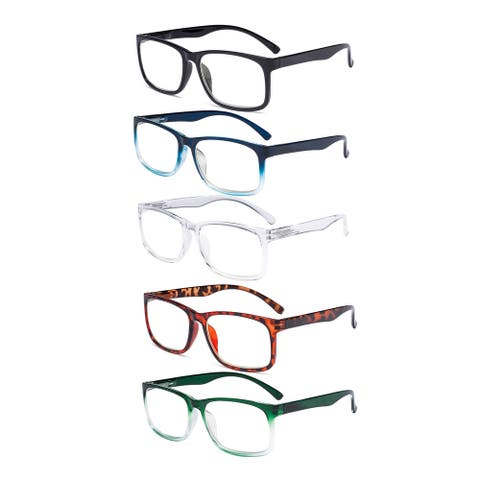 5 Pack Large Frame Reading Glasses Women Men Stylish Reader