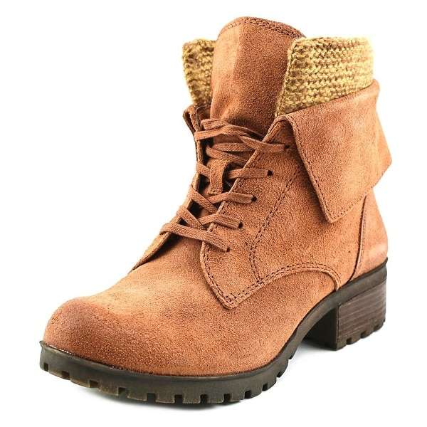 Lucky Brand Huntress Women Round Toe Leather Brown Ankle Boot