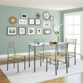 VECELO Glass Dining Table Set with 4 Chairs Kitchen Table set