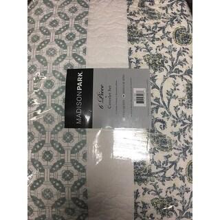 Madison Park Vanessa Blue Cotton Quilted 6-piece Coverlet Set