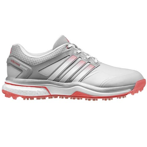 Adidas Women's Adipower Boost Clear Grey/White/Flash Red Golf Shoes Q46608