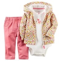 Carter's Baby Girls' 3 Piece Cardigan, Bodysuit & Pants Set Floral & Fox Design (3 Month)