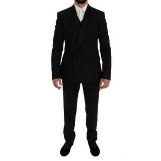 Dolce & Gabbana Dolce & Gabbana Black Wool Silk Slim Fit 3 Piece Suit - it50-l