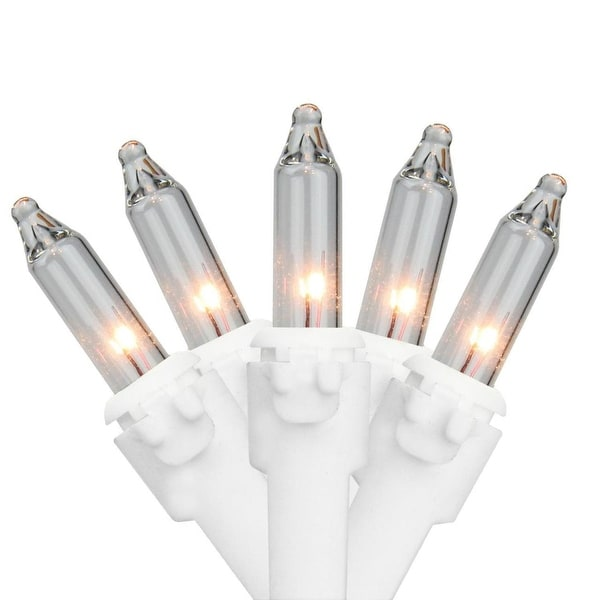 """Set of 50 Clear Mini Christmas Lights 6"""" Spacing - White Wire"""