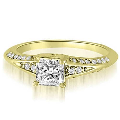 1.30 cttw. 14K Yellow Gold Princess And Round Diamond Engagement Ring
