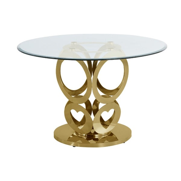 Best Quality Furniture Round Glass Dining Table w/Stainless Steel Base. Opens flyout.