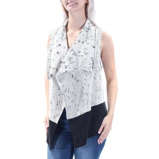 Womens Beige Black Sleeveless Open Trapeze Sweater Size S