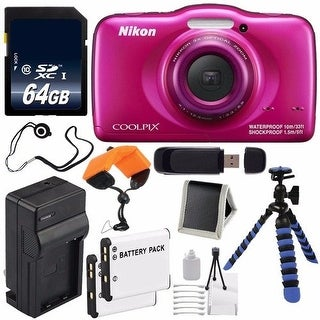 Nikon COOLPIX S33 Digital Camera (Pink) International Model No Warranty + Replacement Battery + External Charger NIKCPS32 Bundle