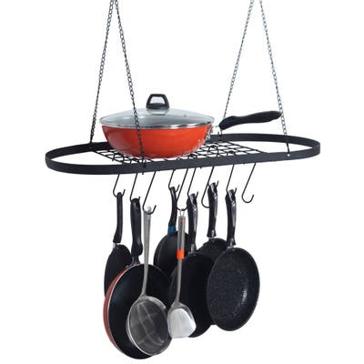 Pot and Pan Rack for Ceiling with Hooks? Decorative Oval Storage Rack