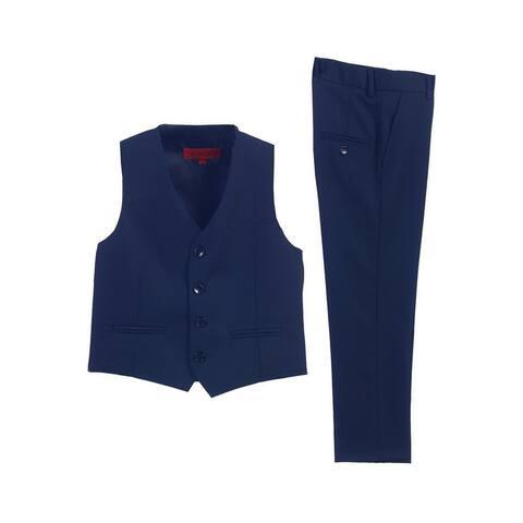 Little Boys Royal Blue 2 Piece Vest Pants Formal Outfit Set