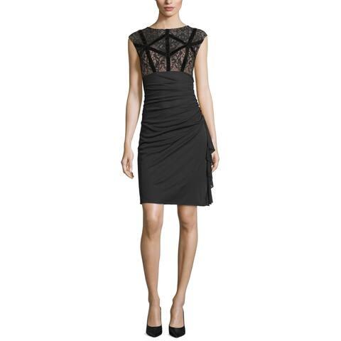 Betsy & Adam Womens Dress Black Size 16 Sheath Velvet Trim Floral Lace