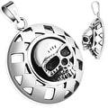 Round Shield Skull Stainless Steel Pendant (31.5 mm Width) - Thumbnail 0
