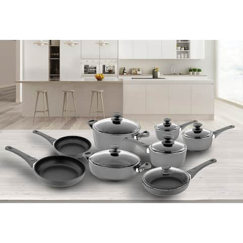 14-Piece Titanium NonStick Cookware Set in Gray with Glass Lids