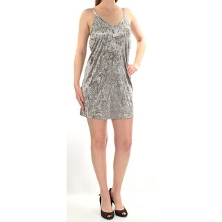 Womens Silver Spaghetti Strap Mini Shift Cocktail Dress Size: M