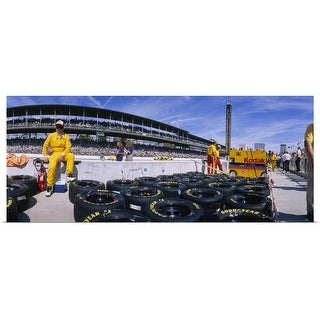 Poster Print entitled Motor car racers preparing for a race, Brickyard 400, Indianapolis Motor Speedway, Indianapolis,