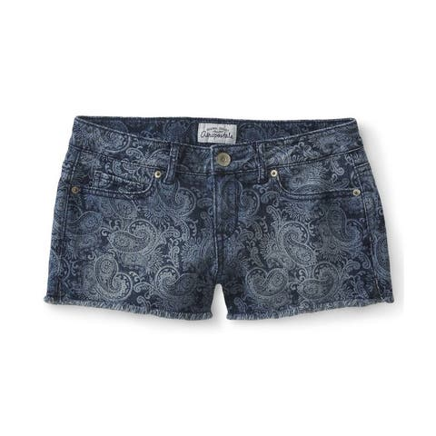 Aeropostale Womens Paisley Shorty Casual Denim Shorts, blue, 3/4