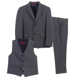 Boys Charcoal Vest Pants Jacket Special Occasion 3 Pcs Suit 8-16
