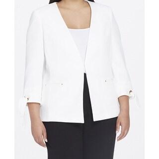 Tahari by ASL Chalk Womens Plus Tie Sleeve Jacket