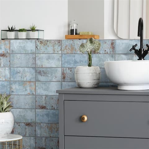 SomerTile Biarritz Blue 3 in. x 6 in. x 9mm Ceramic Wall Tile