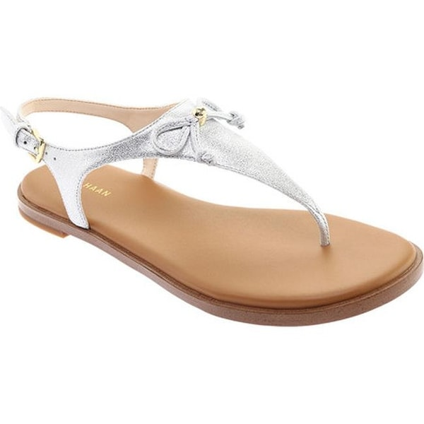 dc7f36636b6584 Cole Haan Women  x27 s Findra Thong Sandal Silver Shimmer Metallic Leather