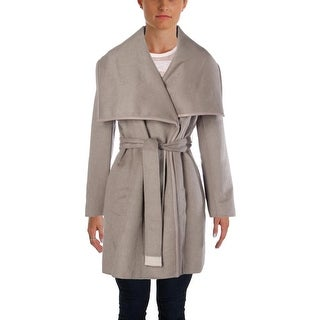 Elie Tahari Womens Wool Blend Leather Trim Coat