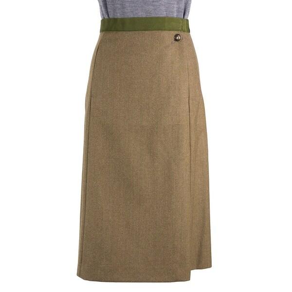 3737fdf5f37b5 Maison Margiela Green Wool Military Button Knee Length Skirt